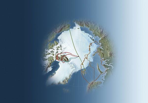 Arctic Exploration, Route Maps Print by Mikkel Juul Jensen