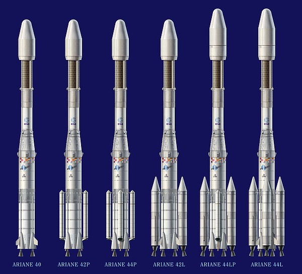Ariane 4 Rocket Versions, Artwork Print by David Ducros