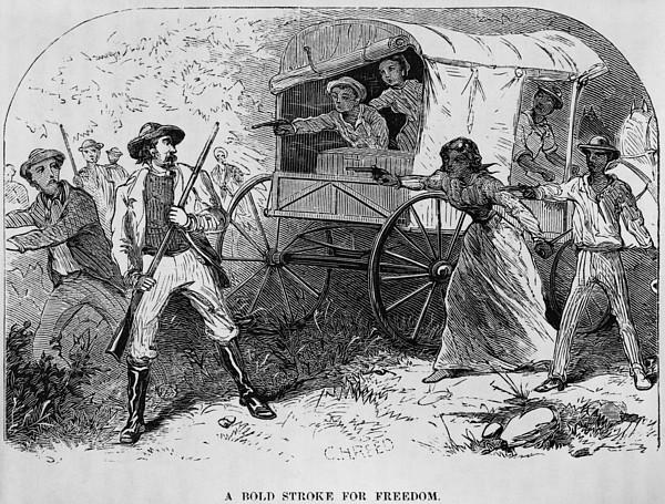 Armed Fugitive Slave Family Defending Print by Everett