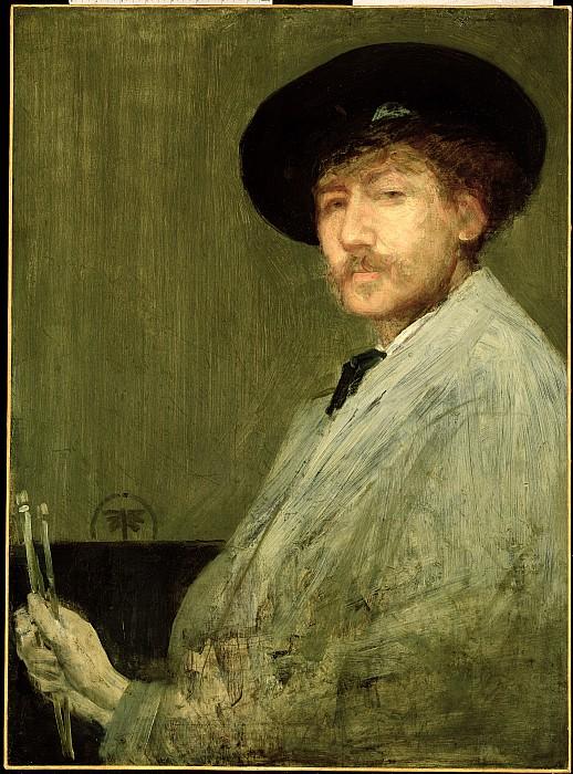 Arrangement In Grey - Portrait Of The Painter Print by James Abbott McNeill Whistler