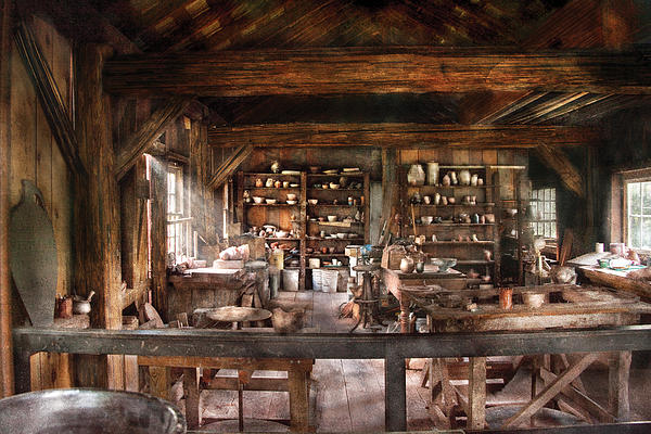 Artist - Potter - The Potters Shop  Print by Mike Savad