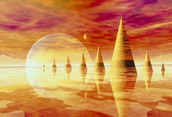 Artwork Of An Alien Landscape Print by Mehau Kulyk