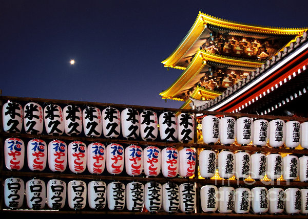 Asakusa Kannon Temple Pagoda And Lanterns At Night Print by Christine Till