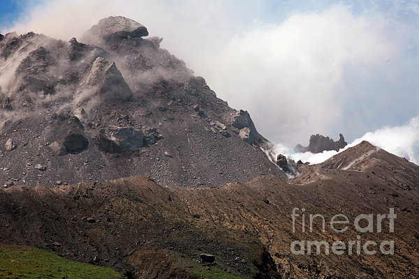 Ash And Gas Rising From Lava Dome Print by Richard Roscoe