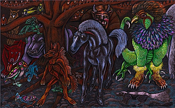 Asil At The Forest Lord's Midnight Gathering In Shitaki Print by Al Goldfarb
