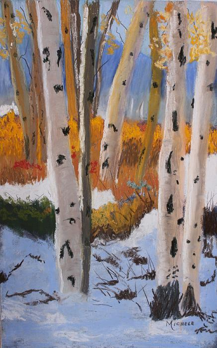 Aspens On Snowy Ground Print by Michele Turney