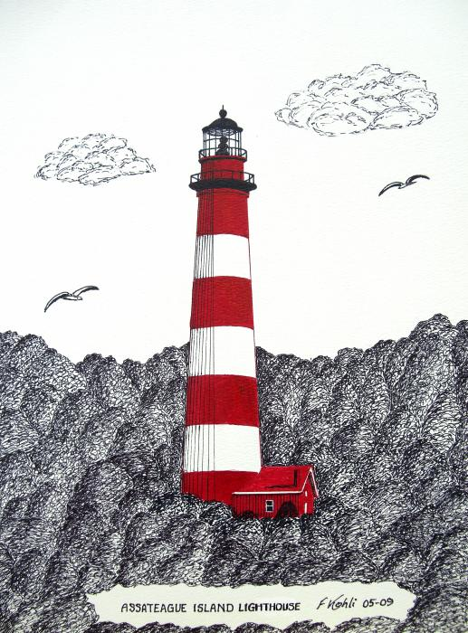 Red House Drawing: Assateague Island Lighthouse Drawing Greeting Card For