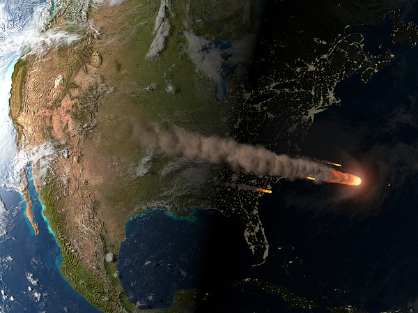 Asteroid Approaching Earth Print by Joe Tucciarone Library