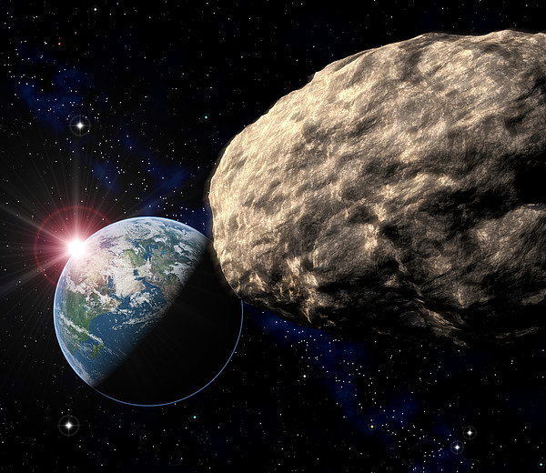 Asteroid Approaching Earth Print by Roger Harris