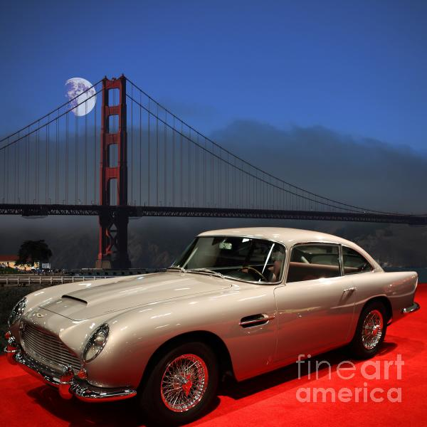 Aston Martin Db5 Under The Golden Gate Moon Print by Wingsdomain Art and Photography