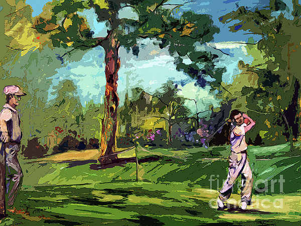 At The Golf Course Vintage Golfers Print by Ginette Callaway