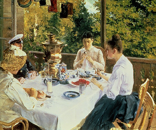 At The Tea-table Print by Konstantin Alekseevich Korovin