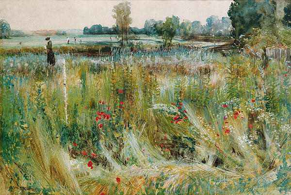 At The Water's Edge Print by John William Buxton Knight