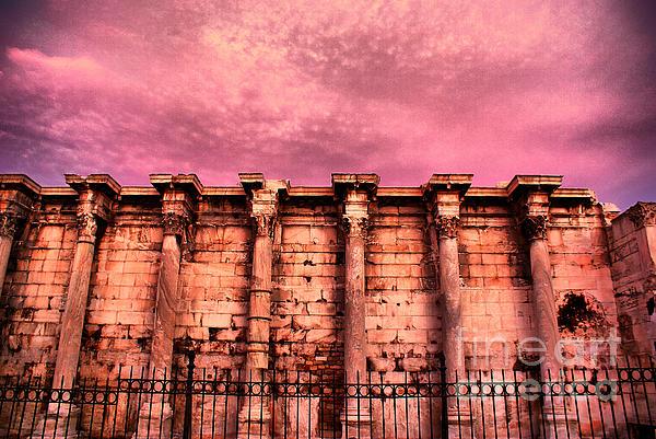Athens - The Library Of Hadrian Print by Hristo Hristov