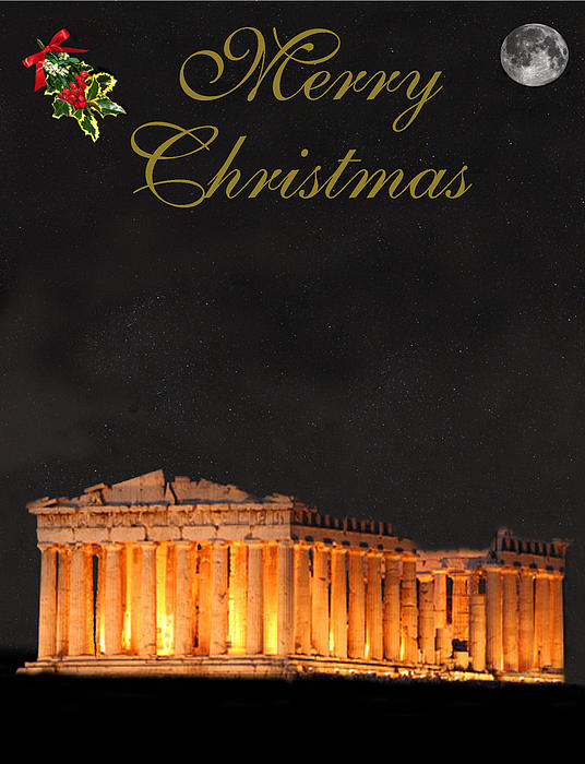 Athens Merry Christmas Print by Eric Kempson