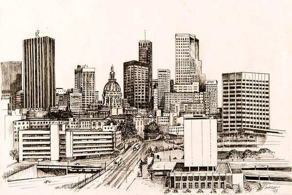 Atlanta Skyline Drawing  - Atlanta Skyline Fine Art Print