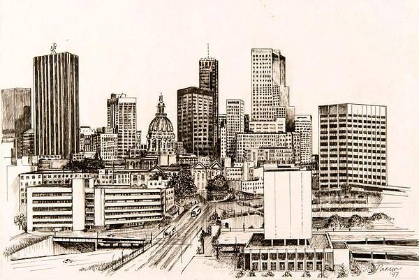 Atlanta Skyline Print by Pamir Thompson