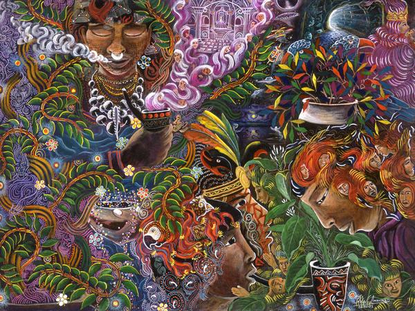 Auca Yachai Print by Pablo Amaringo