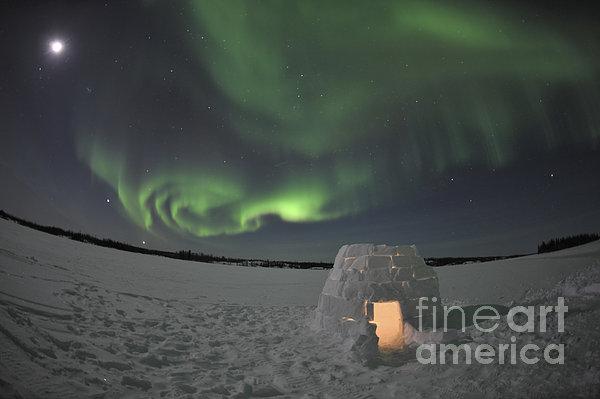 Aurora Borealis Over An Igloo On Walsh Print by Jiri Hermann