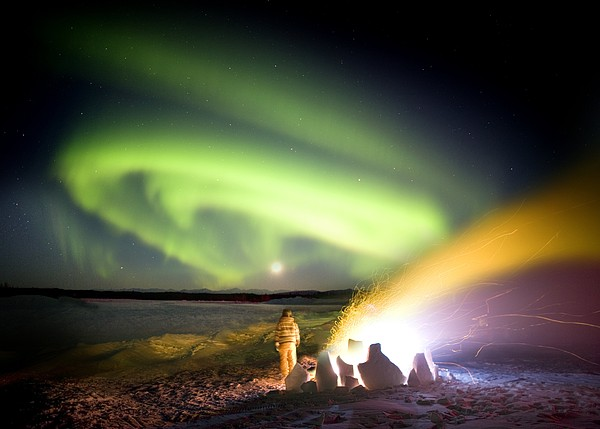 Aurora Watching, Time-exposure Image Print by Chris Madeley