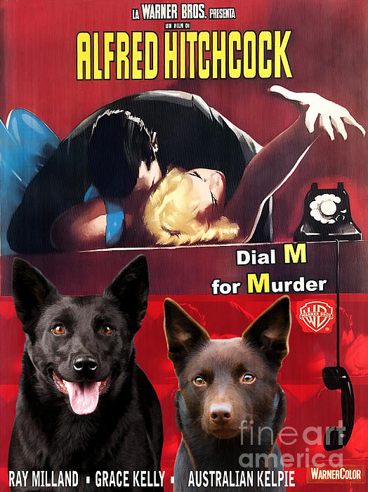 Australian Kelpie - Dial M For Murder Movie Poster Print by Sandra Sij