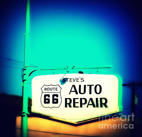 Auto Repair Sign On Route 66 Print by Susanne Van Hulst