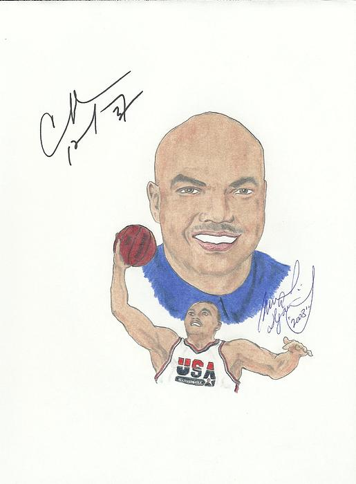 Autographed Charles Barkley Drawing