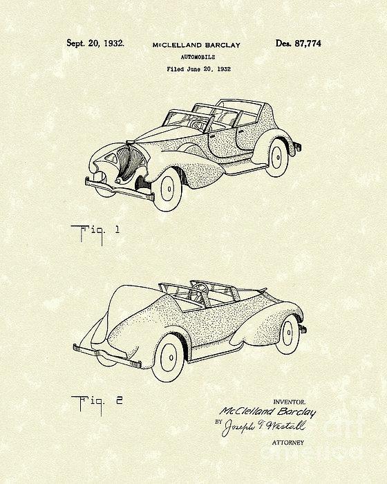 Automobile Mccelland Barclay 1932 Patent Art Print by Prior Art Design