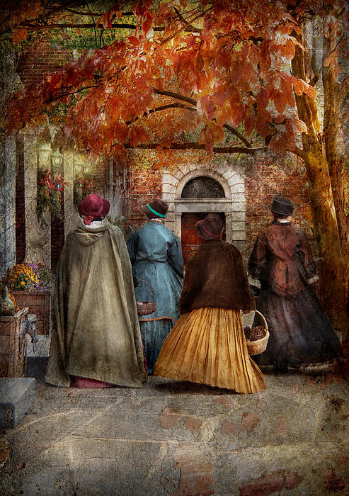 Autumn - People - A Walk Downtown  Print by Mike Savad