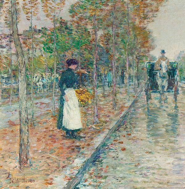 Autumn Boulevard In Paris Print by Childe Hassam