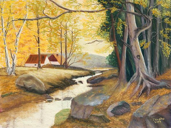 Autumn Brook Print by James Geddes