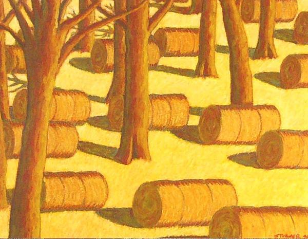 Autumn Haybales Print by John  Turner