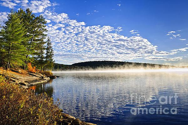 Autumn Lake Shore With Fog Print by Elena Elisseeva