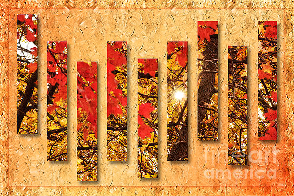 Autumn Sunrise Painterly Abstract Print by Andee Design