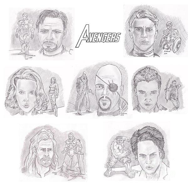 Avengers Team Print by Chris  DelVecchio