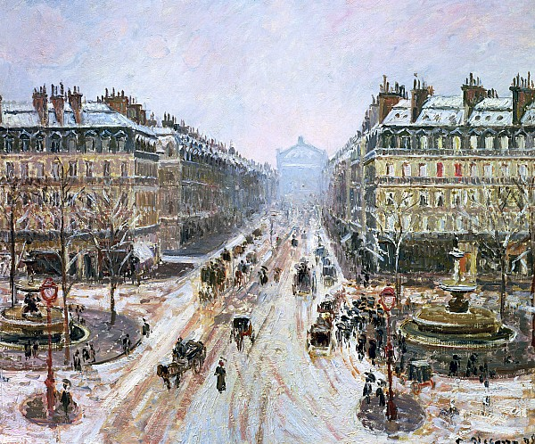 Avenue De L'opera - Effect Of Snow Print by Camille Pissarro