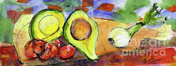 Ginette Fine Art LLC Ginette Callaway - Avocado and Onions Vegetable Still Life