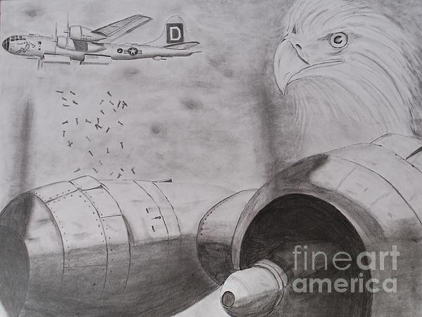 B-29 Bombing Run Over Europe Print by Brian Hustead