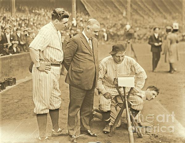 Babe Ruth Studies The Roster Print by Padre Art