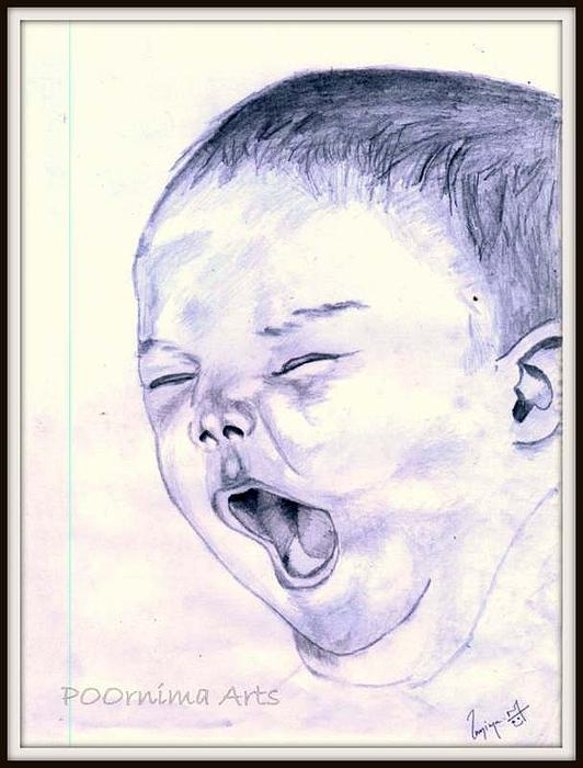 Baby-yawning Print by Poornima M