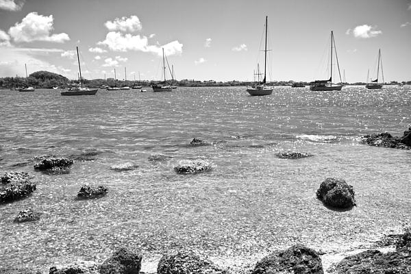 Background Sailboats Print by Betsy A  Cutler