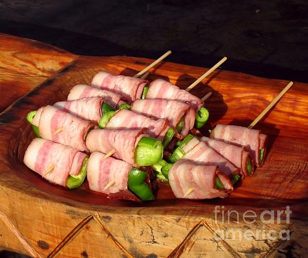 Bacon And Pepper Skewers Print by Yali Shi