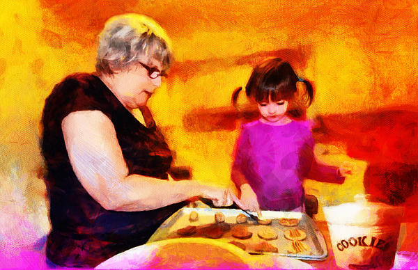 Baking Cookies With Grandma Print by Nikki Marie Smith