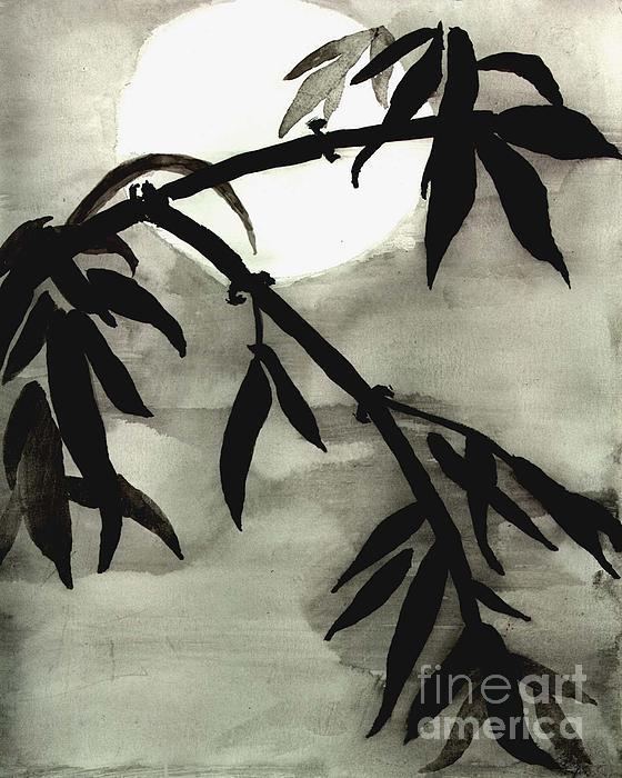 Bamboo In Moonlight - Watercolor Painting Print by Merton Allen