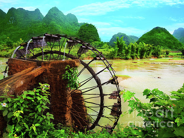 Bamboo Water Wheel Print by MotHaiBaPhoto Prints