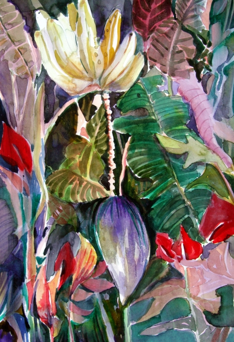 Banana And Pods Print by Mindy Newman
