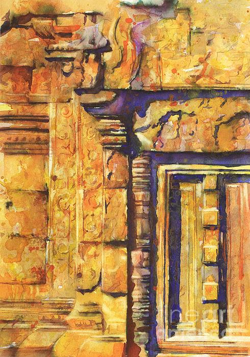 Banteay Srei Doorway Print by Ryan Fox