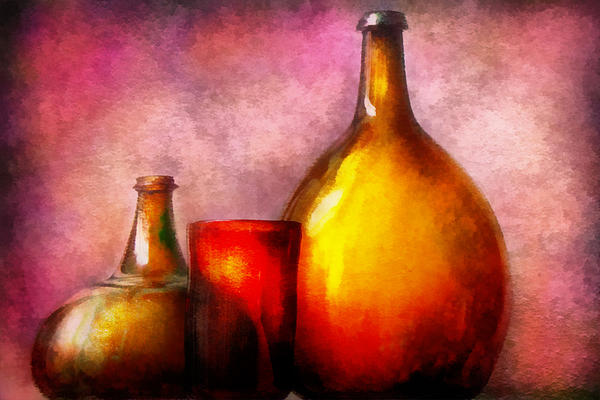 Bar - Bottles - A Still Life Of Bottles Print by Mike Savad