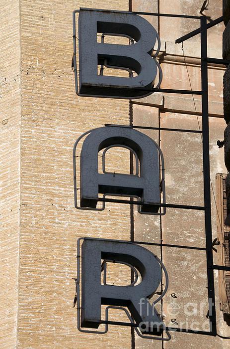 Bar. Neon Writing Print by Bernard Jaubert