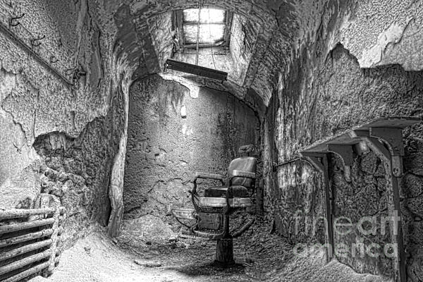 Barber - Chair - Eastern State Penitentiary - Black And White Print by Paul Ward